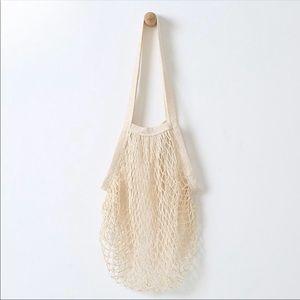 Handbags - Parisienne Cotton Market Open Net Tote Bag Cream